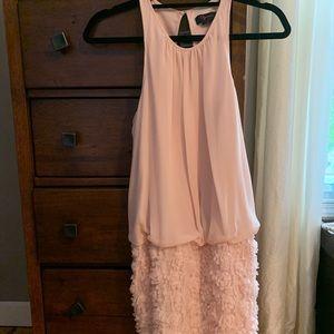 Light pink blouson racerback mini dress